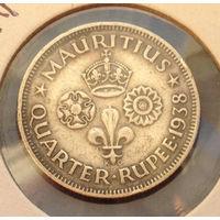 Маврикий Британская колония 1/4 рупии 1938 Георг VI серебро