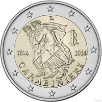 2 евро 2014 Италия 200 лет карабинерам UNC из ролла