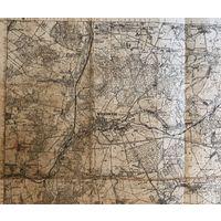 Военно-топографическая карта Выданная Wojskowego instytutu Geograficznego 1926 год размер 33 на 40 см