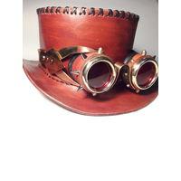 Шляпа  из натуральной кожи в стиле стимпанк