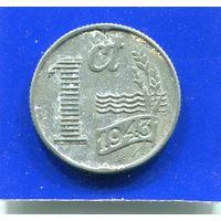 Нидерланды 1 цент 1943 , цинк , 2-я Мировая