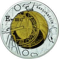 "Гана 5 седи 2017. ""Исследование космоса"". Монета в капсуле, подарочном футляре; сертификат; коробка. Серебро + Тантал 18,5гр. Т"