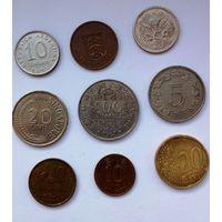 9 разных  монет мира