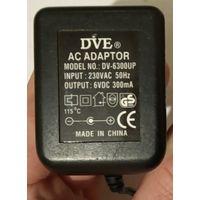 Блок питания 6V DC 300mA. DVE DV-6300UP