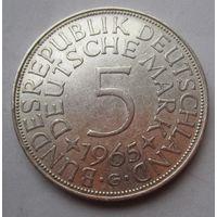 ФРГ. 5 марок 1965 G, Серебро