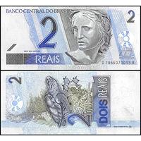 Бразилия 2 реала образца 2001 года UNC p249(H)