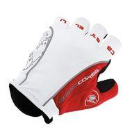 Велоперчатки Castelli Rosso короткие пальцы белые, красные, черные