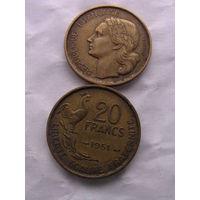20 франков Франция 1951 г.в.    распродажа