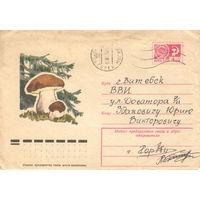 Конверт СССР, прошедший почту, 1975 Белый гриб (флора)
