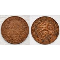 W: Антильские острова, Нидерланды, 2,5 цента 1959, королева Юлиана, РЫБА, КМ#5 (702)