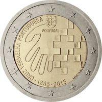 2 евро 2015 Португалия 150 лет Красному Кресту Португалии UNC из ролла