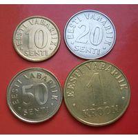 Эстония. Набор 4 монеты. 10-20-50 сенти 1 крона