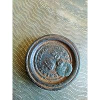 Гирька нач.19 в., 2 OZ (2 унции) Англия Imperial standard, гиря аптечная, торговая, Диаметр 3.8 см.