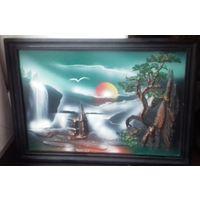 Картина объемная, рисунок и металл 33 на 23 см.