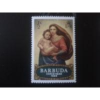 Барбуда колония Англии 1969 Рождество, живопись Рафаэля