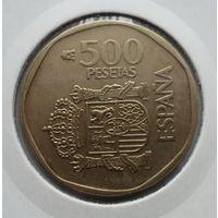"""Испания 500 песет 1988 """"Коронованный щит, бюсты короля Хуана Карлоса I и Софии Греческой и Датской"""""""