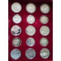 Полный комплект Олимпиада 80 СССР серебро 14 больших и 14 малых монет (коробка для реализации за границей)