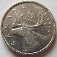 Канада 25 центов 1940 серебро