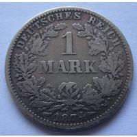 Германия 1 марка 1874 отметка монетного двора G - Карлсруэ