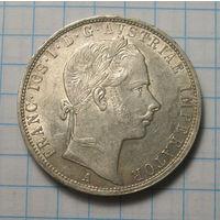 1 флорин 1858 год, Австрия. серебро.