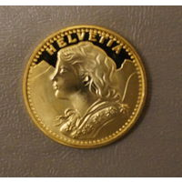 20 франков , 20 мм,  копия, позолота РАЗМЕР ОРИГИНАЛА