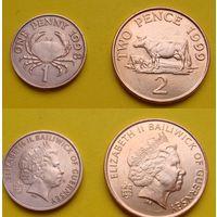Гернси набор 1, 2 пенни четвертый возраст Елизаветы II