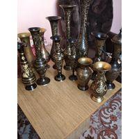 Коллекция латунных и мельхиоровых вазочек