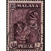 Кошки. Малайя, Перак. 1957. Тигр. Марка из серии. Гаш.