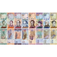 Венесуэла НАБОР БОЛИВАРОВ  2018 год  (2, 5, 10, 20, 50, 100, 200, 500 боливаров).Цена за 8 шт. UNC   НОВИНКА