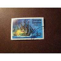 Гренада и Гренадины 1975 г.Двухсотлетие американской революции . Военно-морское сражение .Номинал 2 доллара.