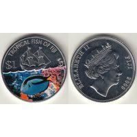 Фиджи 1 доллар 2009 КМ#148 Damsel fish Рыба Корабль цветная