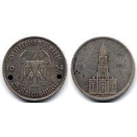 5 марок 1934 A, Германия, Берлин. 1 год нацистскому режиму, Гарнизонная церковь в Потсдаме