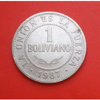 27-31 Боливия, 1 боливиано 1987 г. Единственное предложение монеты данного года на АУ