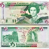 Восточные Карибы 5 долларов 2008 год  UNC