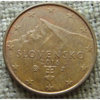 1 евроцент 2016 Словакия