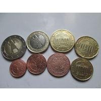 Полный ГОДОВОЙ набор евро монет Германия 2002 F (1, 2, 5, 10, 20, 50 евроцентов, 1, 2 евро)