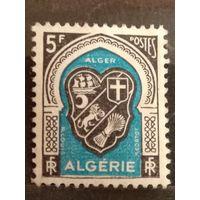 Французская колония Алжир герб чистая разновидность кривая рамка частичный клей (2-2)
