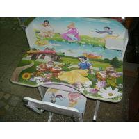 Парта и стул трансформер для детской (Маша и медведь). Новый