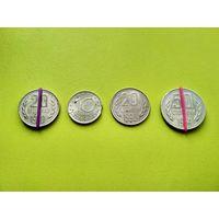 Болгария. 4 монеты с браком: холостое соударение штемпелей, разворот (поворот), выкус. 10 стотинок 1999, 20 стотинок 1990, 50 стотинок 1974.