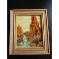 Картина из янтаря Берёзы 13.5х11.5см