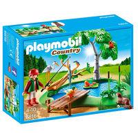 Конструктор Пруд для рыбалки Playmobil Country 6816 (Германия) Коробка не вскрывалась. Природная композиция выглядит очень красиво: маленький рыбак стоит у воды и пытается поймать рыбу на крючок. Вокр