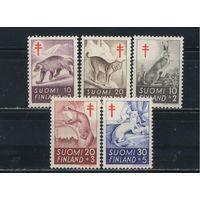 Финляндия 1957-62 Борьба с туберкулезом Росомаха Рысь Заяц Куница Горностай #478-9,551-3**