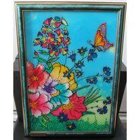 Картина разноцветная Цветы и бабочка рамка витраж Ручная работа hand-made