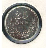 Швеция 25 эре  1930 г. Серебро.
