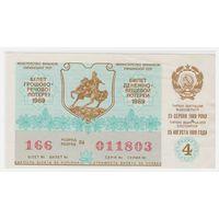 Лотерейный билет УССР 1989 4 выпуск