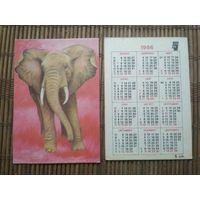 Карманный календарик . Слон. 1986 год