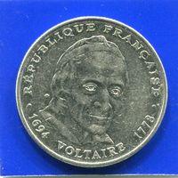 Франция 5 франков 1994 , 300 лет со дня рождения Вольтера