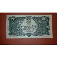 Банкнота 20 злотых Польша 1944
