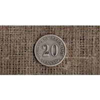 Германия 20 пфеннигов 1875 С ///Н /