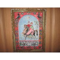 Картина-лубок в раме Верхом на лошадях.